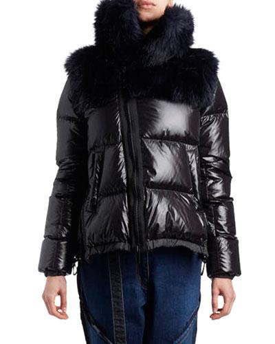 Zip-Front Nylon Puffer Jacket wit Faux-Fur Hood