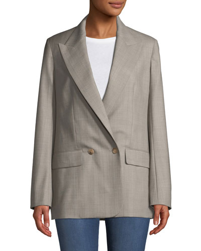 Presner Double-Breasted Canvas Wool Blazer