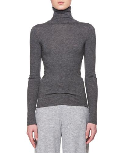 Turtleneck Long-Sleeve Cashmere Top