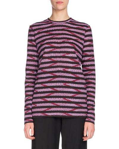 Crewneck Long-Sleeve Stripe-Printed Tissue Jersey Top