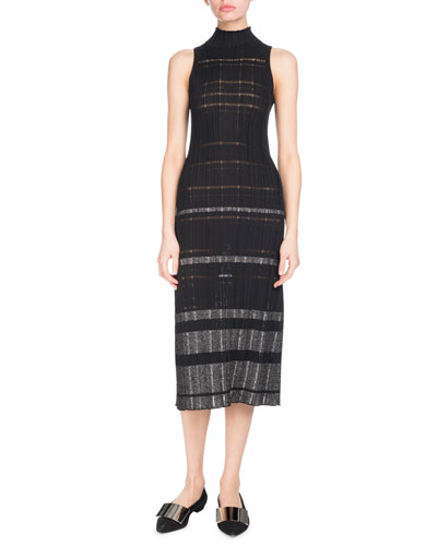 Turtleneck Sleeveless Striped Ribbed Knit Midi Dress