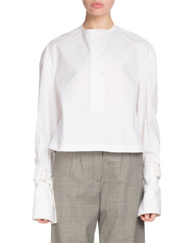 Button-Down Long-Sleeve Cotton Poplin Top