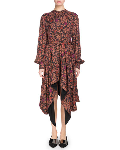 Long-Sleeve Tie-Waist Printed Georgette Dress w/ Asymmetric Hem