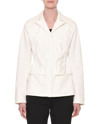 Notched-Collar Button-Down Peplum Jacket