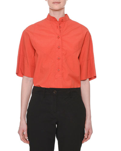 Short-Sleeve Button-Down Cotton Shirt