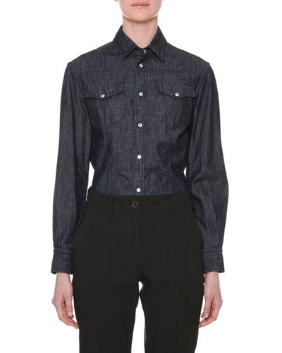 Long-Sleeve Button-Down Denim Shirt