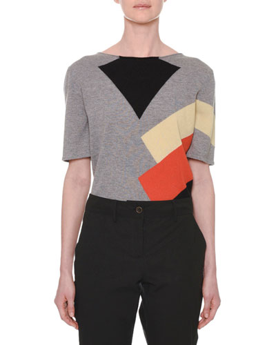 Short-Sleeve Multicolor Colorblock Cashmere Knit Sweater