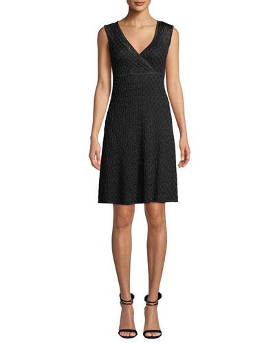 V-Neck Sleeveless Metallic A-Line Mini Dress