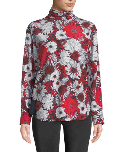Turtleneck Long-Sleeve Floral-Print Silk Blouse