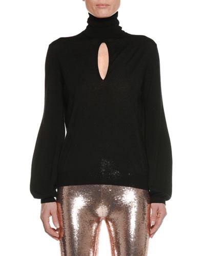 Turtleneck Keyhole Long-Sleeve Cashmere-Silk Top