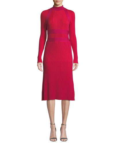 Mock-Neck Long-Sleeve Ribbed Wool A-Line Dress