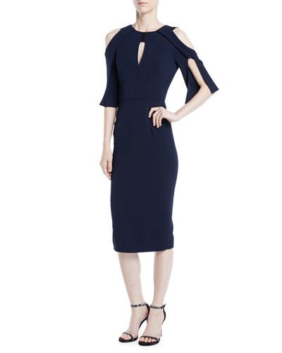 Keeling Keyhole Slit-Sleeve Midi Crepe Sheath Dress