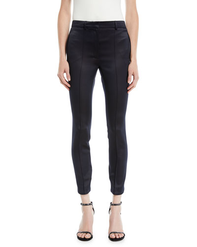 Fitted Button-Back Cropped Satin Pants
