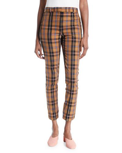 Straight-Leg Plaid Check Cropped Pants