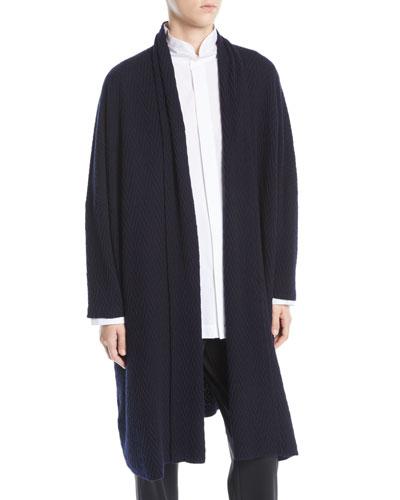 Open-Front Long-Sleeve Herringbone Cashmere Cardigan