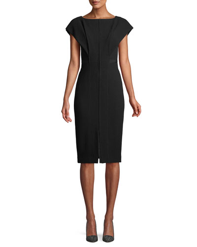 Boat-Neck Cap-Sleeve Wool Sheath Dress