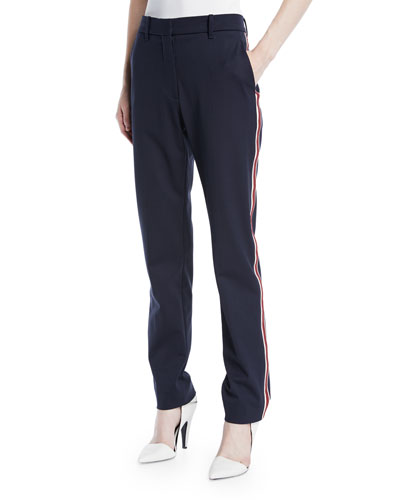 Side-Stripe Straight-Leg Wool-Blend Pants
