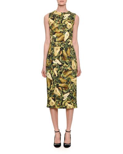 Sleeveless Cady Pear-Print Pencil Dress