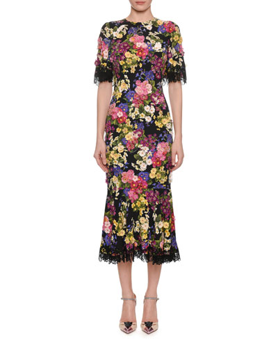 Short-Sleeve Floral Midi Lace-Trim Dress w/ Flower Embroidery