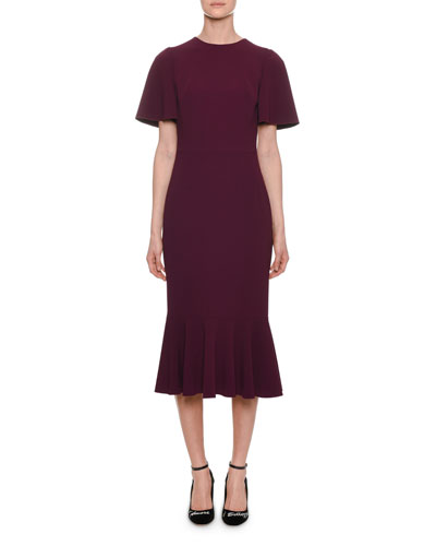 Flutter-Sleeve Cady Sheath Dress