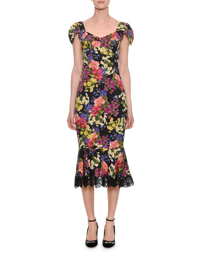 Floral Sweetheart Cap-Sleeve Dress w/ Lace Hem