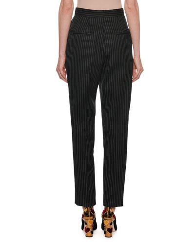 Dolce & Gabbana High-Waist Straight-Leg Pinstripe Wool Pants