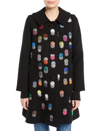 Peter-Pan Collar Multicolor Beaded-Dots Swing Wool Coat