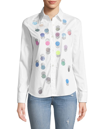 Button-Front Collared Multicolor Beaded-Dots Cotton Shirt