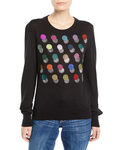 Crewneck Long-Sleeve Multicolor Beaded-Dots Cashmere-Silk Sweater