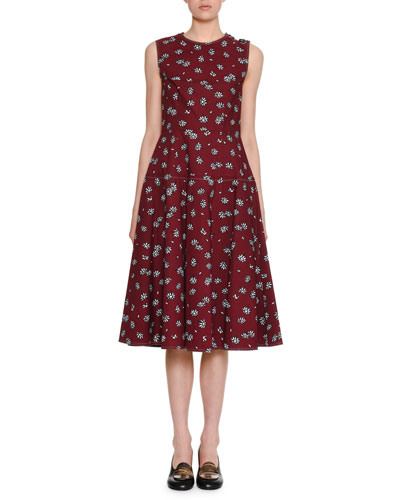 Sleeveless Crewneck Floral-Print Cotton Woven Mid-Length Dress