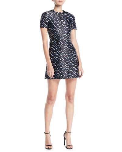 Short-Sleeve Mini Floral-Print Satin A-Line Mini Dress