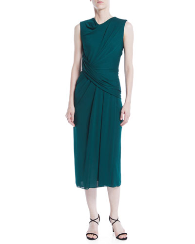 Cowl-Neck Sleeveless Crepe Jersey Draped Sheath Dress