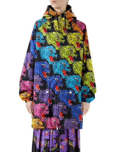 Rainbow Cat Zip-Front Hooded Jacket