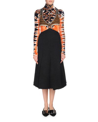 Crochet Cutout Top with Boucle Midi Dress