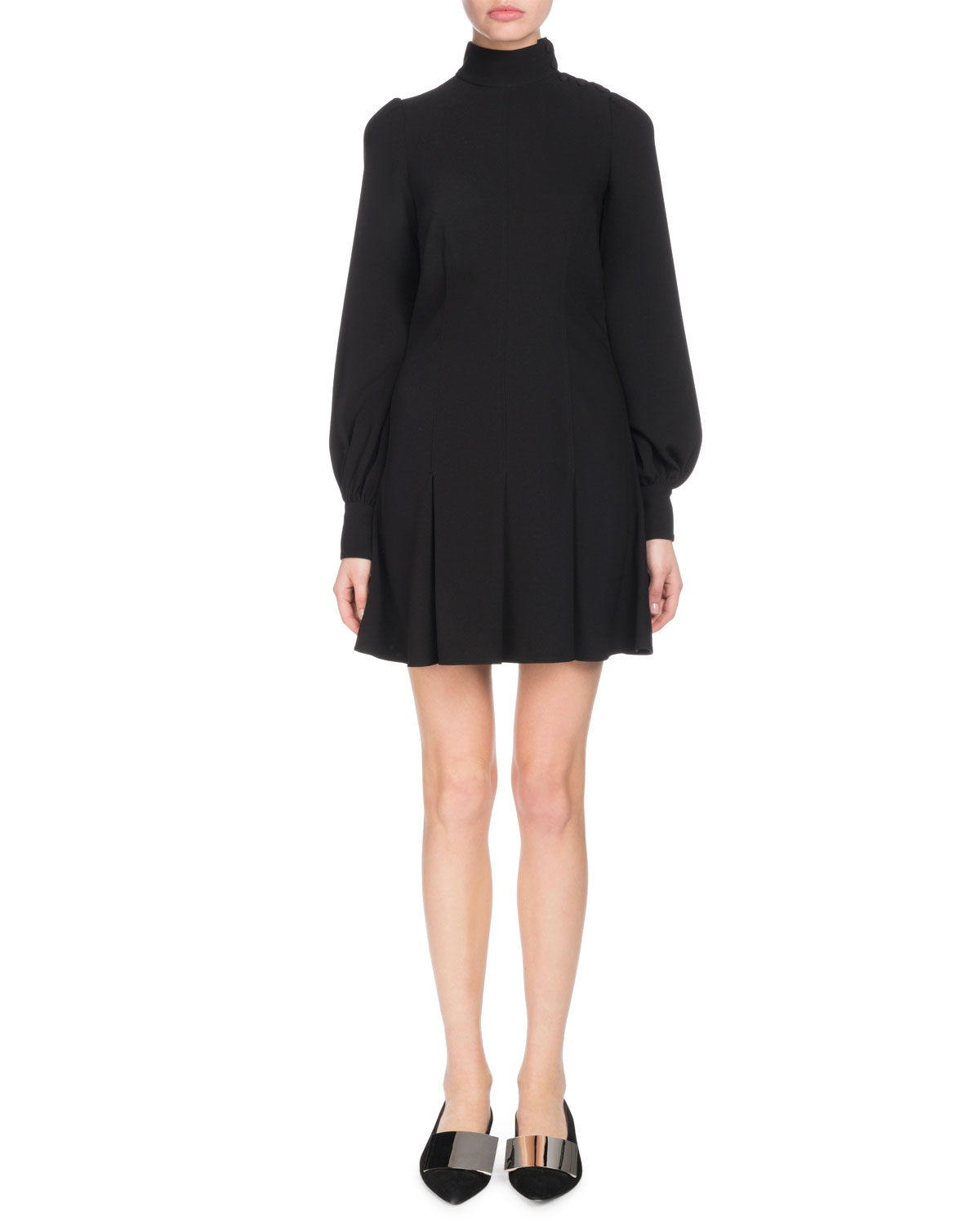 Mock-Neck Puff-Sleeve A-Line Textured Crepe Dress