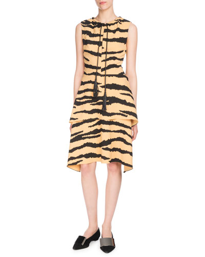 Sleeveless Tie-Neck Tiered A-Line Printed Crepe Dress