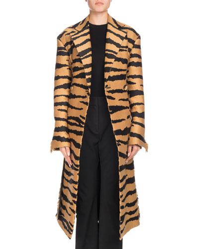 Wrap Button-Front Belted Tiger-Jacquard Long Coat w/ Fringe