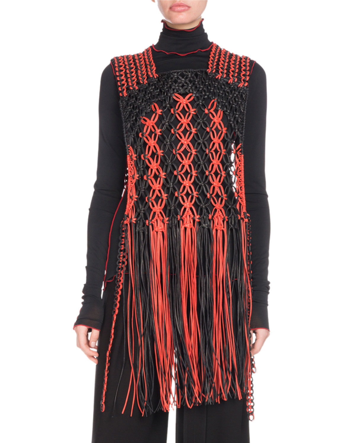 Leather Macrame Fringe Top