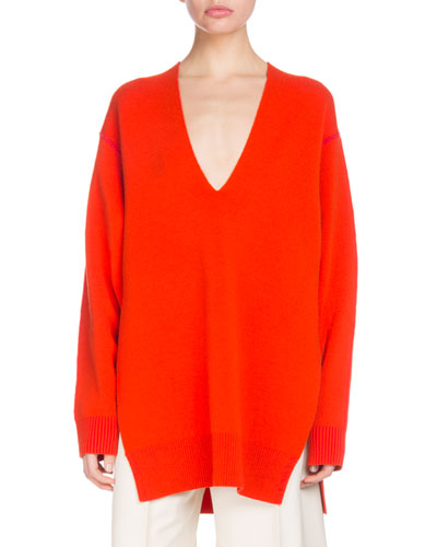 V-Neck Long-Sleeve Oversized Wool Silk-Cashmere Tunic Sweater
