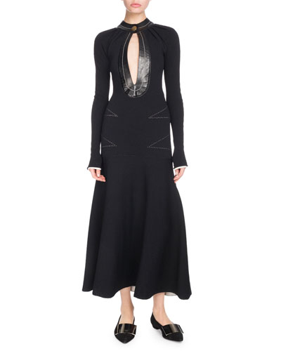 Keyhole-Front Long-Sleeve A-Line Dress w/ Topstitching