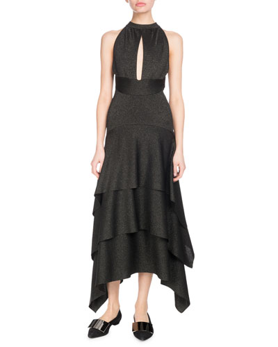 Halter Keyhole-Front Tiered Ruffle Cocktail Dress