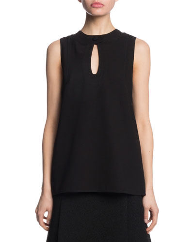 Crewneck Keyhole Sleeveless Textured Crepe Top