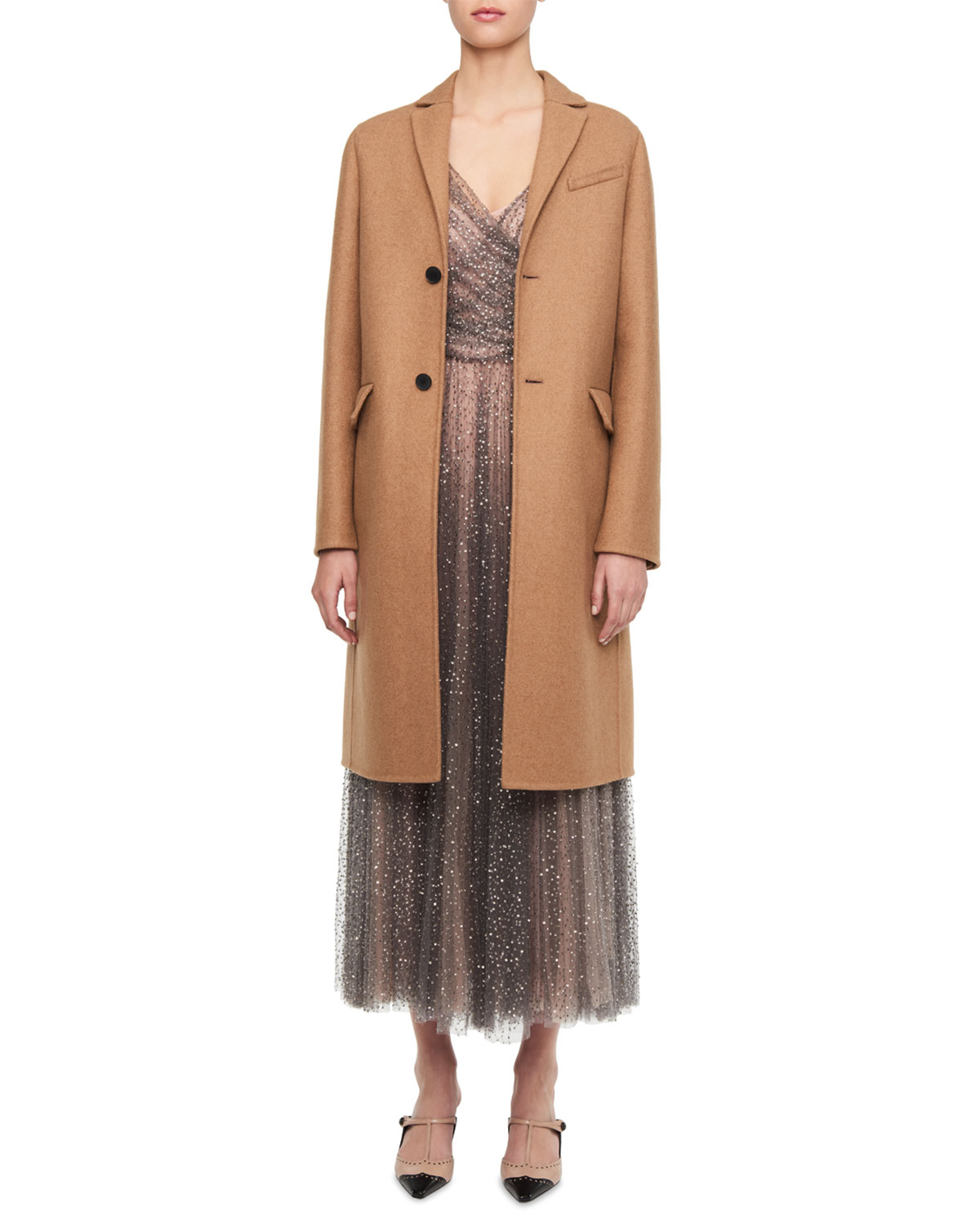 Single-Breasted Wool Camel Coat