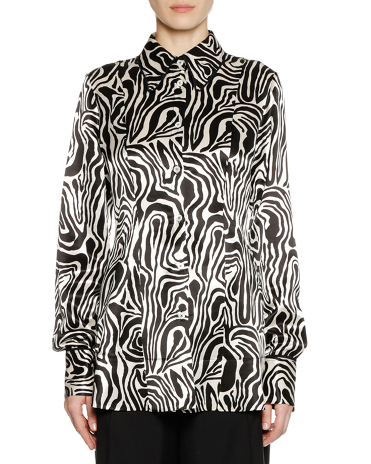 Long-Sleeve Button-Down Zebra-Print Woven Shirt