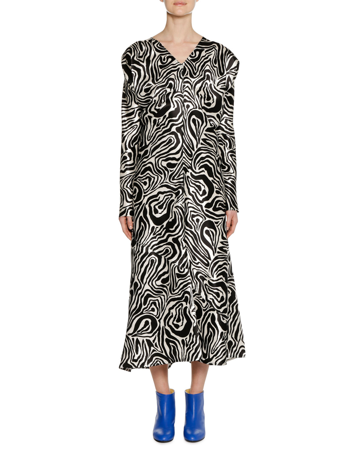 V-Neck Long-Sleeve Zebra-Print Ankle-Length Dress