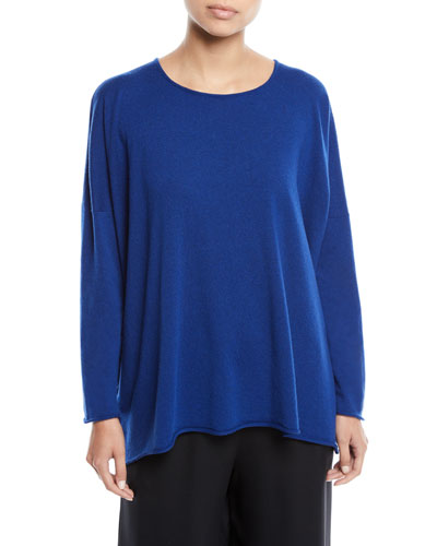 Bateau-Neck Long-Sleeve Cashmere Sweater