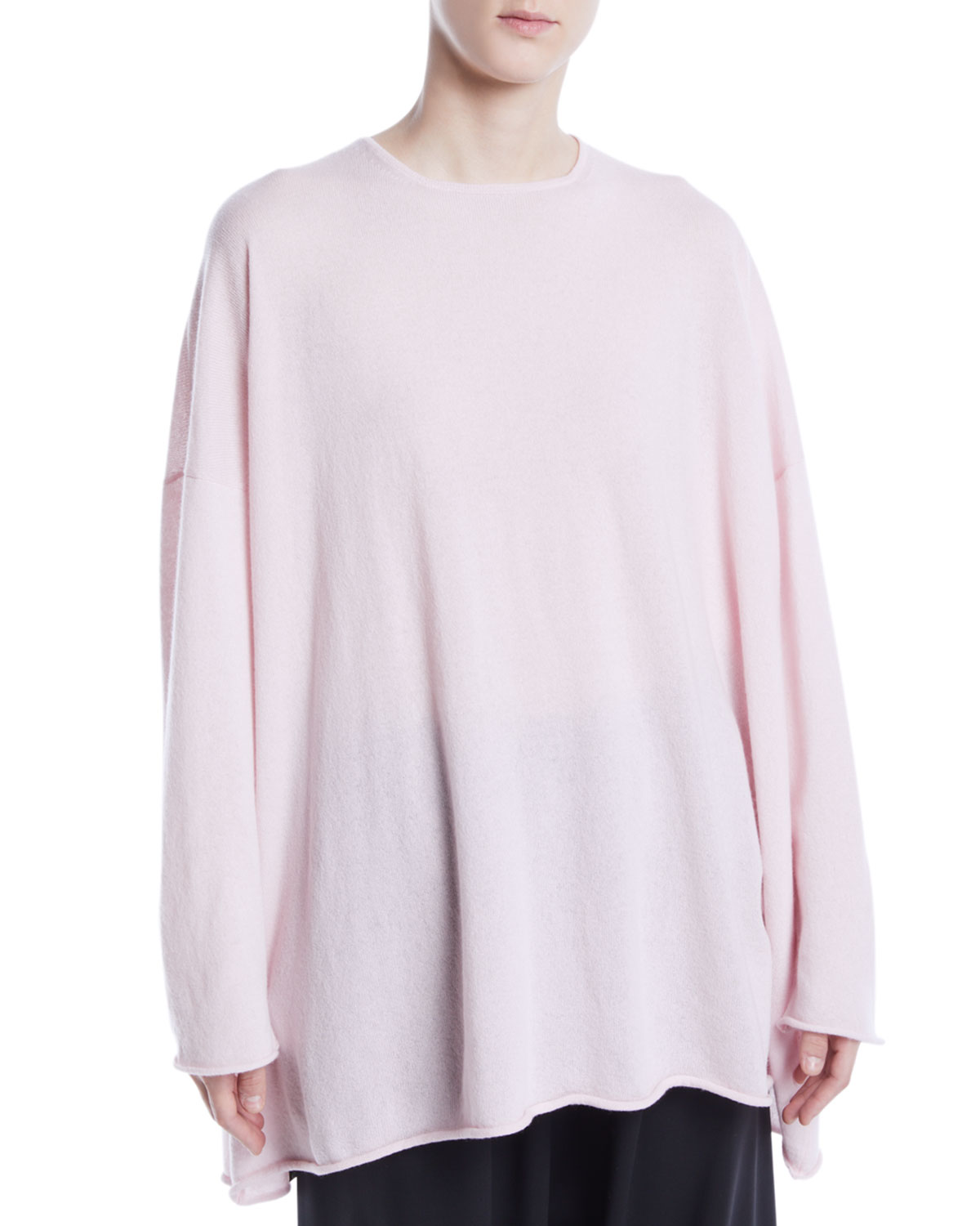 ESKANDAR CREWNECK LONG-SLEEVE A-LINE CASHMERE LONG SWEATER