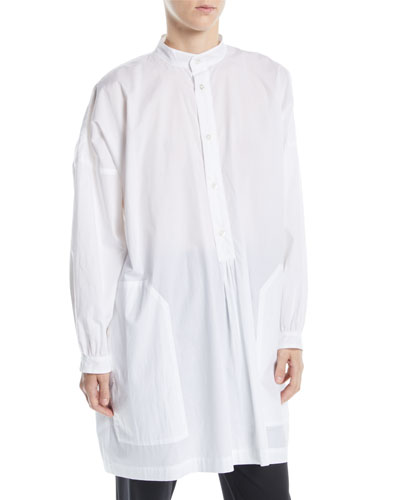 Button-Front Long-Sleeve Washed Cotton French Smock Top