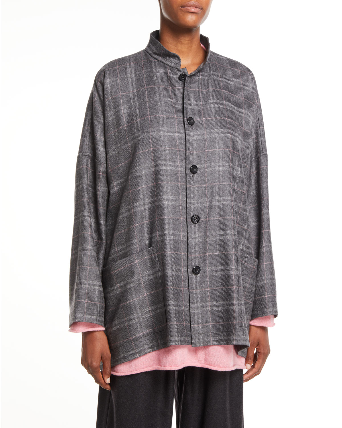 ESKANDAR BUTTON-FRONT PLAID CASHMERE WIDE MANDARIN JACKET