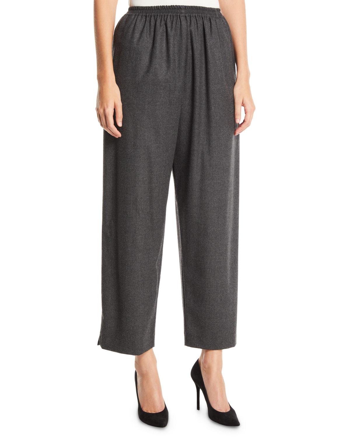 Eskandar WIDE-LEG PULL-ON WORSTED CASHMERE PANTS W/ ANKLE SLITS